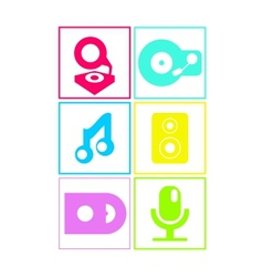 Neon colored flat music icons vector