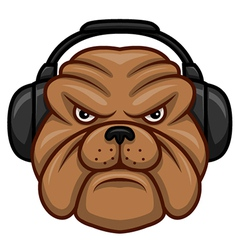 Bulldog with headphones vector