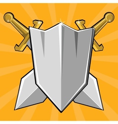 Two crossed swords and shield vector