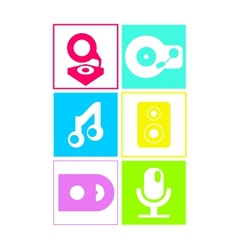 Music icons in neon colors flat design vector