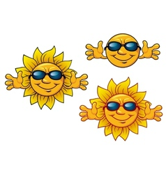 Cartoon smiling sun characters with sunglasses vector