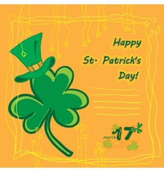 Irish st patrick day party card with flat symbols vector