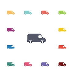 Van flat icons set vector