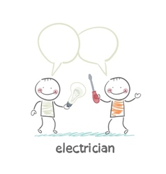 Electricians talk about work vector