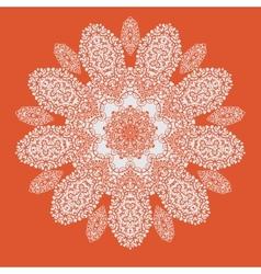 Hand drawn mandala on orange background all vector