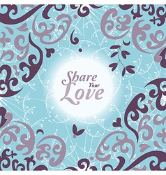 Love flowers elegant card vector