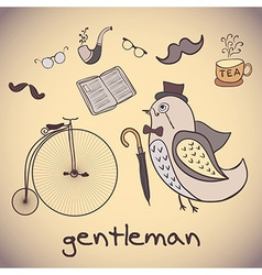 Bird gentleman attributes dandy vector
