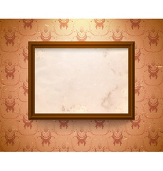 Aged frame on the wall vector