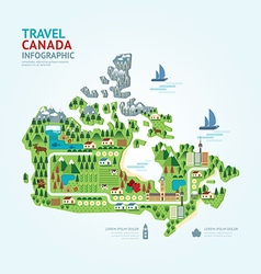 Infographic travel and landmark canada map vector