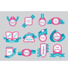 Labels with cyan ribbons vector
