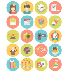 Kids birthday party round icons vector