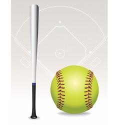 Softball and bat vector