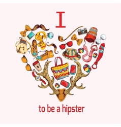 Hipster sketch heart vector