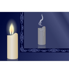 Candle and mirror vector