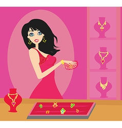 Girl at a jewelry store vector