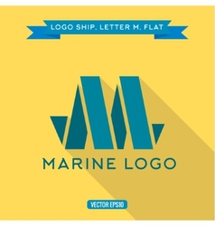 Abstract logo ship in the form of letter m vector