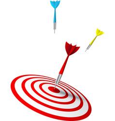 Colorful darts hitting a target vector