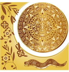 Aztec calendar in gold vector