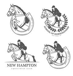 Set of vintage equestrian labels and badges vector