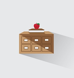 Library catalog of book and apple vector
