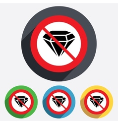 No diamond sign icon jewelry symbol gem stone vector