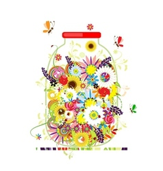 Floral honey jar with summer flowers for your vector