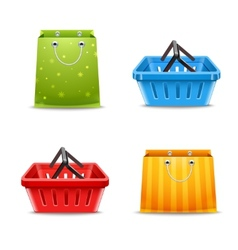 Shopping baskets and bags vector