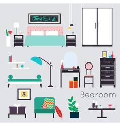 Bedroom furniture and accessories vector