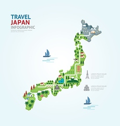 Infographic travel and landmark japan map vector