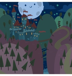 Cartoon flat castle on a hill at night vector