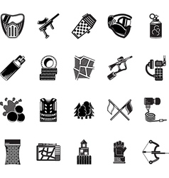 Paintball black icons collection vector