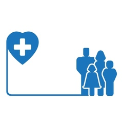 Family silhouette on medical symbol vector