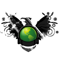 Green earth conservation emble vector