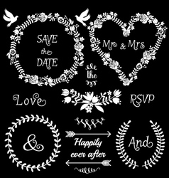 Floral wedding frames set vector