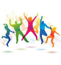 Colorful background with dancing people vector