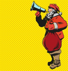 Santa claus flat design with loudspeaker vector