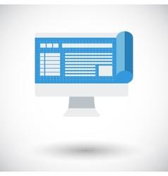 Monitor whit blueprint vector