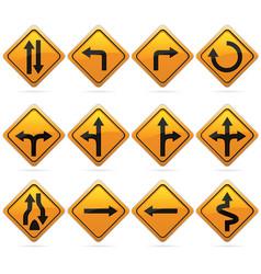 Glossy diamond road arrow sign vector