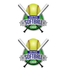 Softball league emblems vector