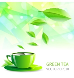 Cup tea falling leaves vector