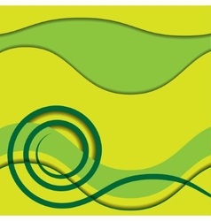 Abstract green spiral with colored background vector