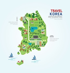 Infographic travel and landmark korea map vector