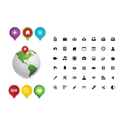 Web colored pins and earth symbols vector