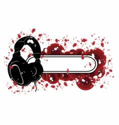 Grunge headphones pattern vector