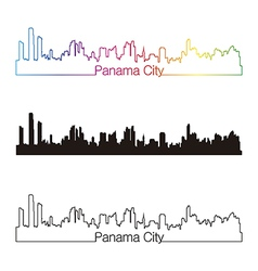 Panama city skyline linear style with rainbow vector