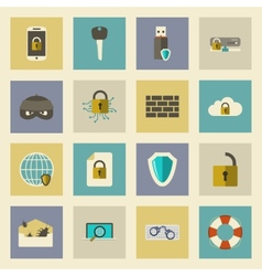 Cyber defense flat icons set vector