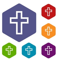 Protestant cross rhombus icons vector
