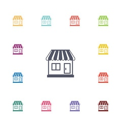 Shop flat icons set vector