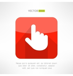 Finger pointer in modern flat design click button vector