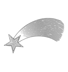 Shooting star in engraved style vector